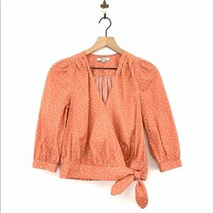 Madewell Coral Wrap Top In Star Scatter Print XS